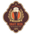 label for draft beer with glass and coat of arms vector image