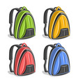 set colorful hiking backpacks vector image