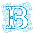 winter vintage letter B vector image