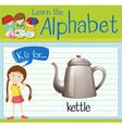 Flashcard alphabet K is for kettle vector image