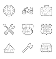 Camping icons set outline style vector image
