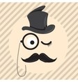Retro vintage gentleman in a hat cylinder with vector image