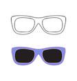Hand drawn glasses outline set vector image
