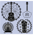 set of labels with acoustic guitars vector image