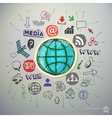 Hand drawn social media icons set and sticker with vector image vector image