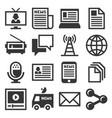 media news icon set vector image
