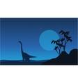Silhouette of brachiosaurus at night landscape vector image