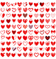 100 Heart icons hand drawn vector image