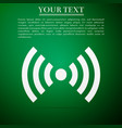 wi-fi network symbol flat icon on green background vector image