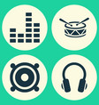 audio icons set collection of earphone barrel vector image