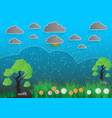 blue landscape with trees rocks sky gray clouds vector image