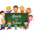 Smiling happy schoolchildren with green banner vector image