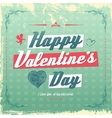 Retro vintage Valentines day greeting card design vector image vector image