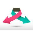 Logo double arrow paper symbol vector image