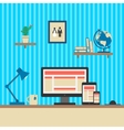 Office Workplace Responsive Web Design Concept vector image