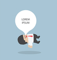 Businessman sleeping and floating by balloon on hi vector image
