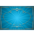 blue background with rays and gold frame vector image