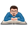 Man reading book Young man in glasses placed his vector image