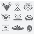 Set of vintage hunting labels and design elements vector image