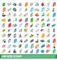 100 b2b icons set isometric 3d style vector image