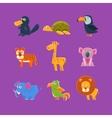 Exotic Animals Fauna Set vector image