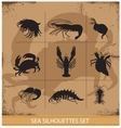 lobsters and crabs silhouettes signs vector image vector image