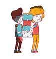 delivery men with package box distribution vector image