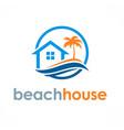beach house travel logo vector image