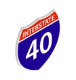Interstate 40 sign icon isometric 3d style vector image