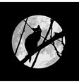 Black cat silhuette on a tree under the Moon vector image