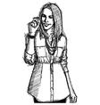 Businesswoman writting vector image