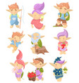 cute troll characters set funny creatures with vector image