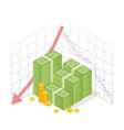 isometric icon pile of cash red recession graph vector image
