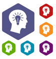 light bulb inside head icons set vector image