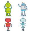 set of cute cartoon robots technology vector image