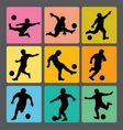 Soccer Boy Silhouettes 1 vector image