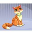 Cute cartoon red cat vector image
