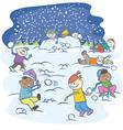 kids playing snowballs vector image vector image