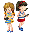 Two girls holding a gadget vector image