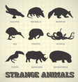 Strange and Odd Animal Silhouettes vector image vector image