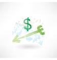 Dollar arrow grunge icon vector image vector image