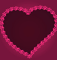 Cartoon heart drawn with cat paw footprints vector image