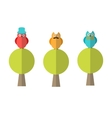 Flat of three owls sitting on trees vector image
