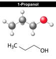 Propanol - 1-propanol molecule vector image