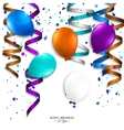 Birthday card with curling stream confetti vector image