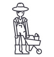 gardener man with wheelbarrow line icon vector image