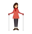 person character with winter clothes vector image