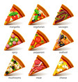 pizza slices icons set vector image