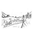 rough draft of small georgian town street vector image