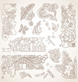 set of sepia hand-drawn Christmas ornaments vector image
